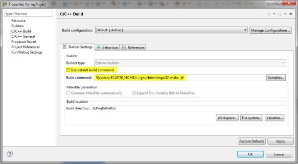Project Builder Settings to use make file