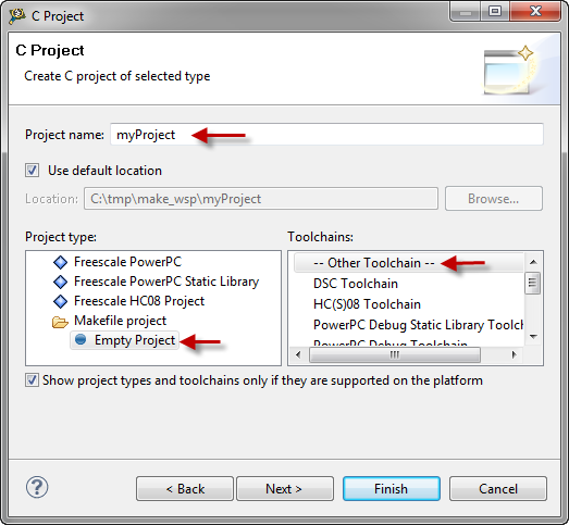 C Project Dialog for Makefile project
