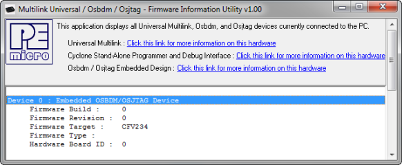OSBDM Firmware Information Utility