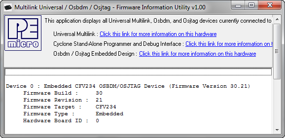 Firmware Information shows the recovered OSBDM firmware