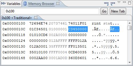 Memory Browser View in CodeWarrior for MCU
