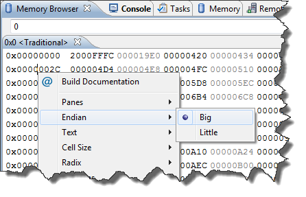 Memory Browser View with Endian choices