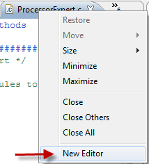 Context menu to create a new editor for a source file