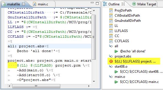 Outline View spotting error in make file