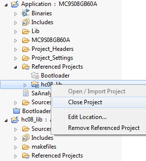 Referenced Projects Context Menu