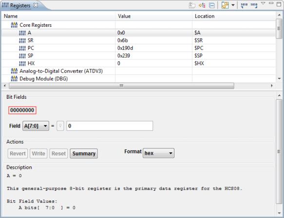 Registers View in CodeWarrior for MCU