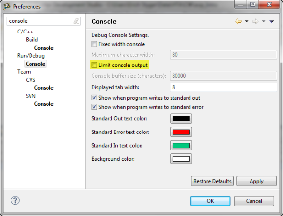 Configuring Console View not to limit output