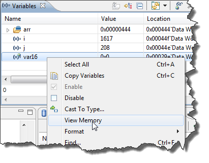 Variables View with context menu