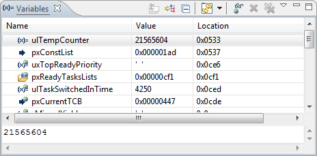 Variables View in CodeWarrior for MCU