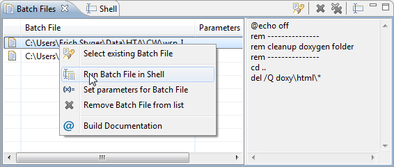Witched Shell Batch Files View