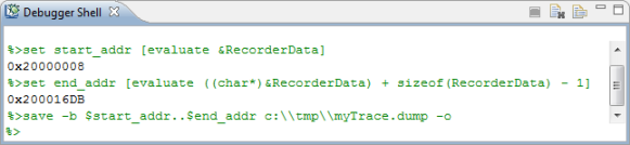Using the Debugger Shell to dump trace data