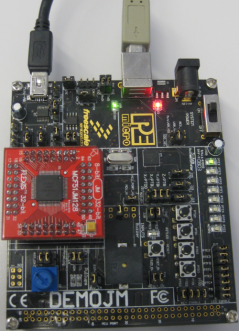 DEMOJM Board with MCF51JM128 running USB CDC