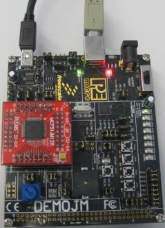 DEMOJM Board with MCF51JM128 running USB CDC