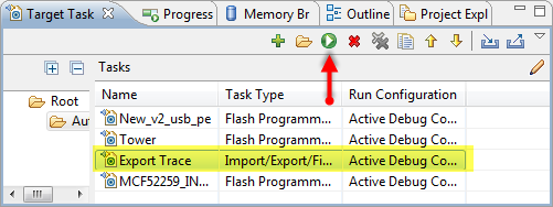 Executing the target task to save trace file