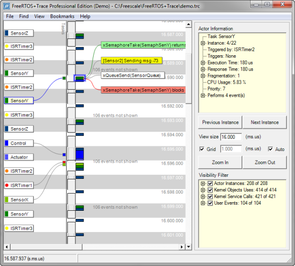 Percepio FreeRTOS+Trace Main Window