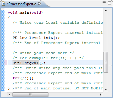 main() function in Processor Expert.c