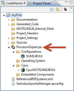 Project Panel View with Processor Expert File