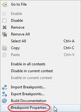 Breakpoint Properties Context Menu