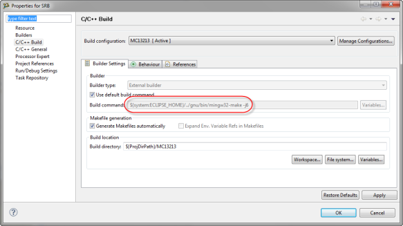 Build Command using mingw32-make