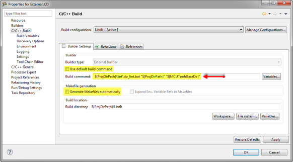 Builder Settings for PC-lint batch file