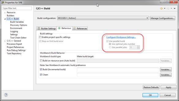 Default Parallel Build Settings
