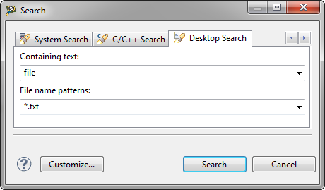 Desktop Search Dialog