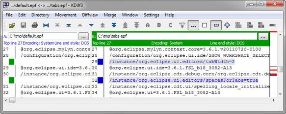 Diffing Eclipse Preference Files