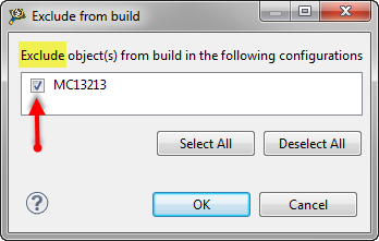 Exclude from build dialog