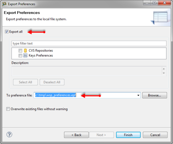 Exporting Preferences Details
