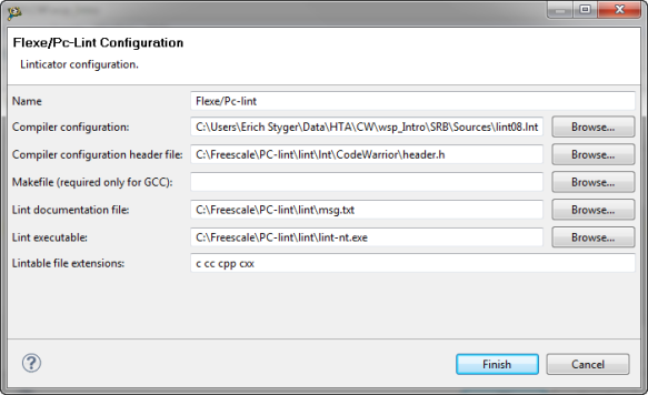 Flexe/PC-Lint configuration