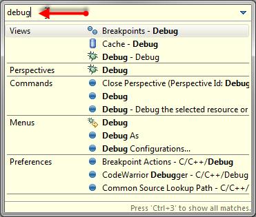 Quick Access: debug