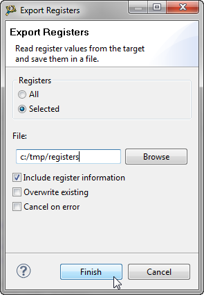 Export Registers Dialog