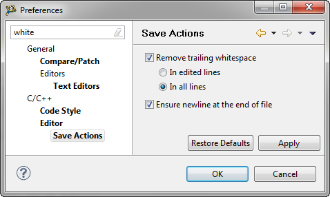 Save Action to remove trailing white spaces
