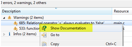 Show Documentation for a PC-lint Message