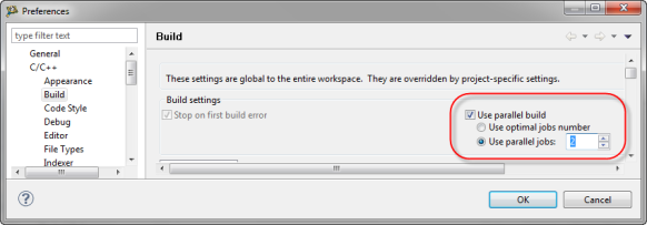 Workspace Parallel Build Settings