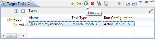 Execute selected target task to export memory
