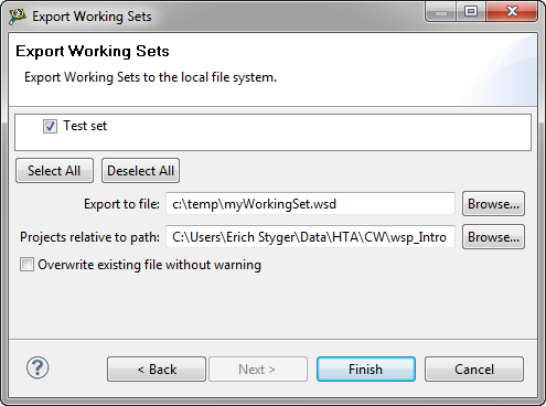 Export Working Set Dialog