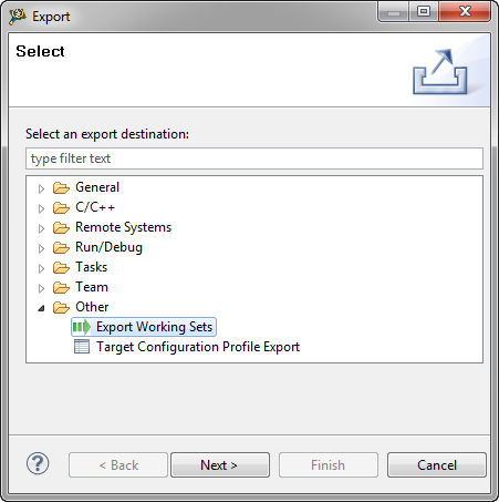 Export Working Set