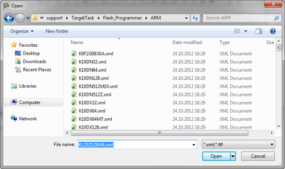 Selecting flash file