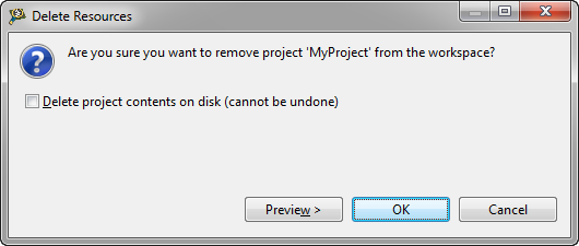 delete project contents on disk