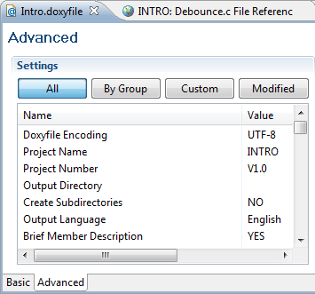 Doxyfile Advanced Tab