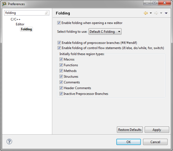 Folding Preferences