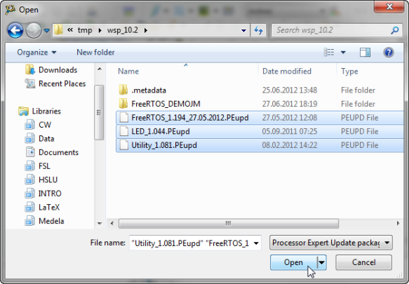 Importing multiple .PEupd files