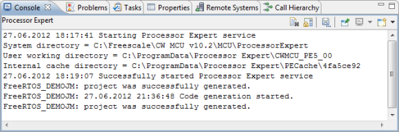 Processor Expert Information in Console View