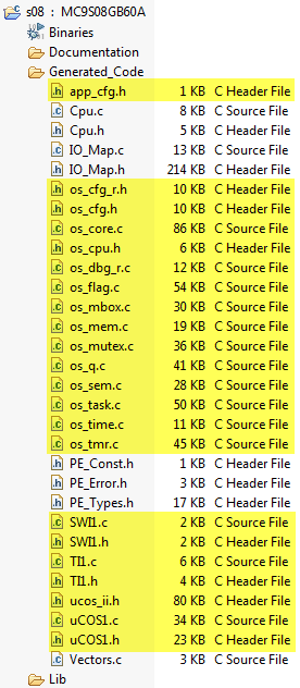 uCOS generated files