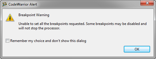 Breakpoint Warning: Unable to set all breakpoints requested.