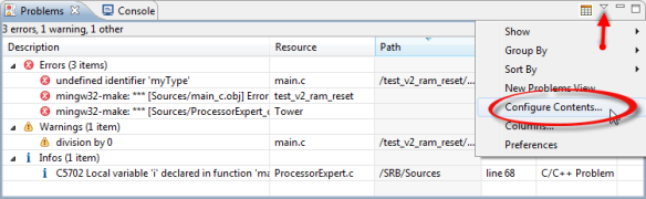 Configure Contents in Problem View