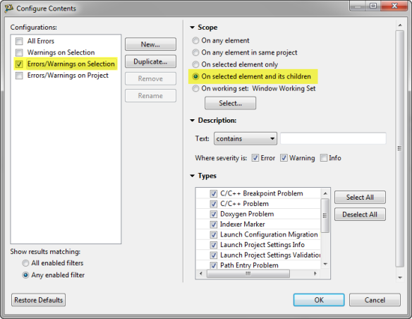 Configure Contents Settings