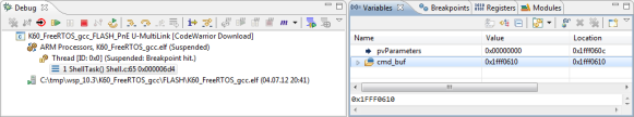 Debug View with Variables View