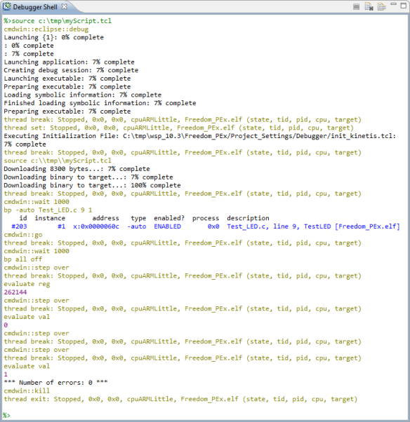 Debugger Shell with Test Script Running